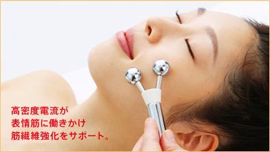 高密度電流が表情筋に働きかけ、筋繊維を強化。